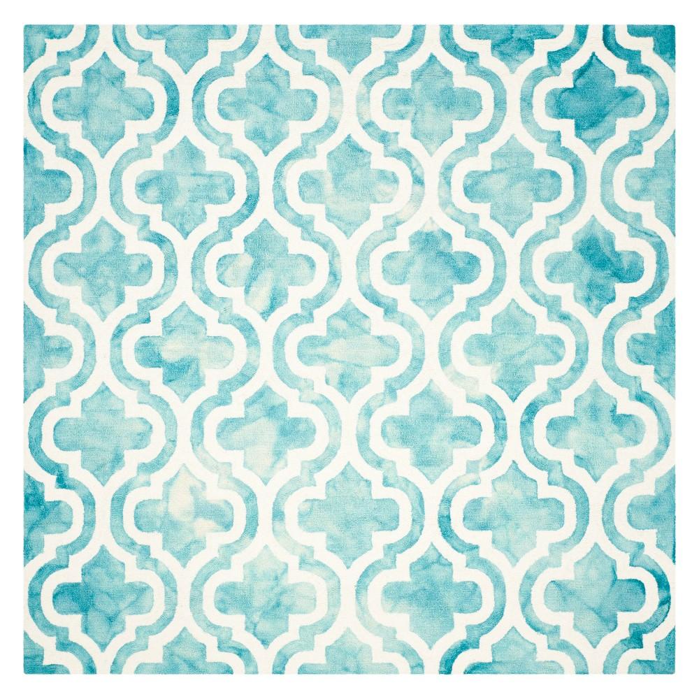 5 X5 Quatrefoil Design Square Area Rug Turquoise Ivory Safavieh