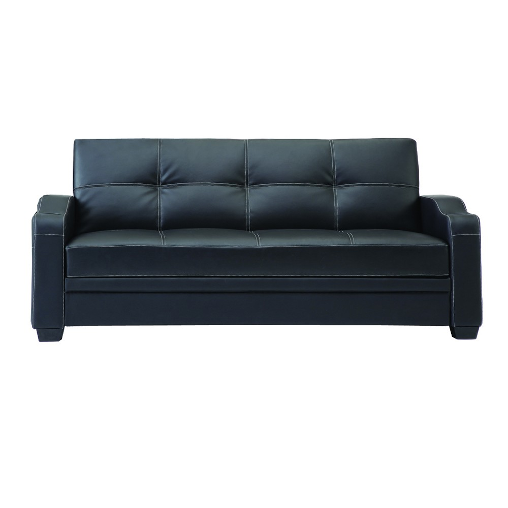 Image of Faux Leather Sofa Bed 3 Seater Black - Home Source