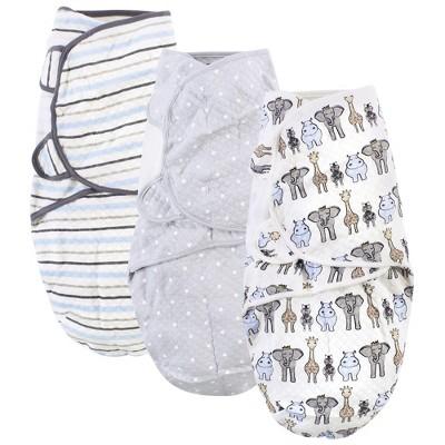 Hudson Baby Infant Boy Quilted Cotton Swaddle Wrap 3pk, Royal Safari, 0-3 Months