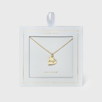 Gold Engraved 'Always' Heart Necklace - Gold