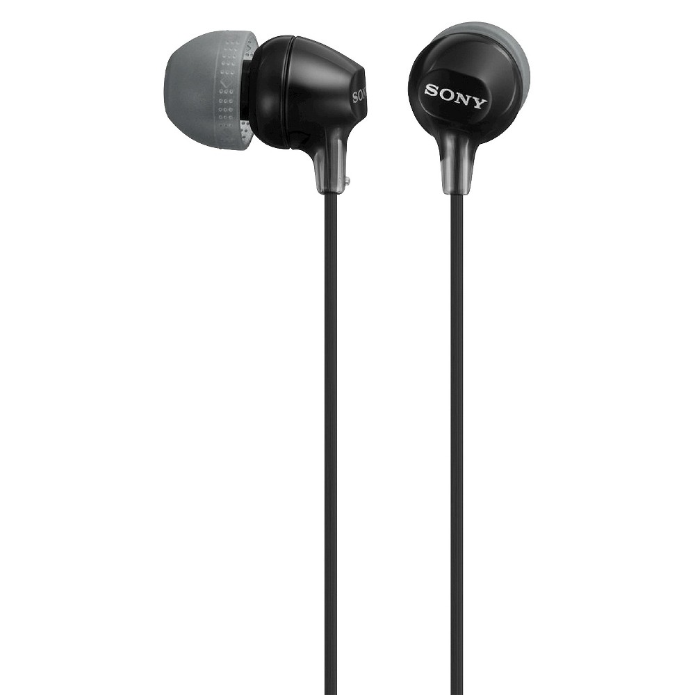Sony Fashionable In-Ear Headphones - Black Sony EX Series Earbuds, Comfortable Hybrid silicone earbuds (S,M,L) that allow for fine-tuned, long-lasting comfort. Sound comes through high quality 9mm dome type driver units coupled with high-energy neodymium magnets produce high resolution treble and mids with powerful bass. A tangle-free Y-type cord with cord slider prevents tangles on the go. Color: Black. Age Group: Adult.