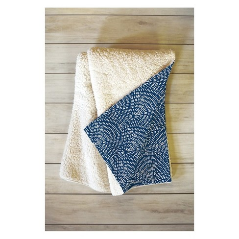 """60""""x50"""" Camilla Foss Circles In Blue Fleece Throw Blanket Blue - Deny Designs - image 1 of 3"""