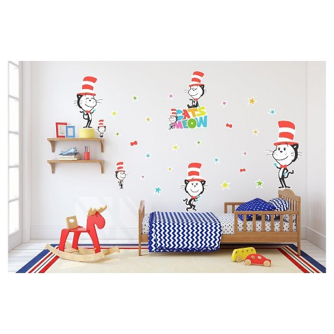 Dr. Seuss Cat's Meow Cat In The Hat Giant Wall Decal - image 1 of 1
