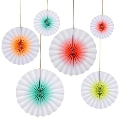 Meri Meri Neon Ombre Paper Fan – Party Decorations and Accessories – 6 Count