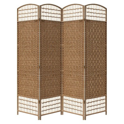 "4 Panel Paper Straw Weave Screen on 2"" Legs-Brown -Ore International"