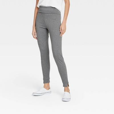 Women's Brushed Leggings with Foldover Waistband and Split Hem Cuffs - A New Day™