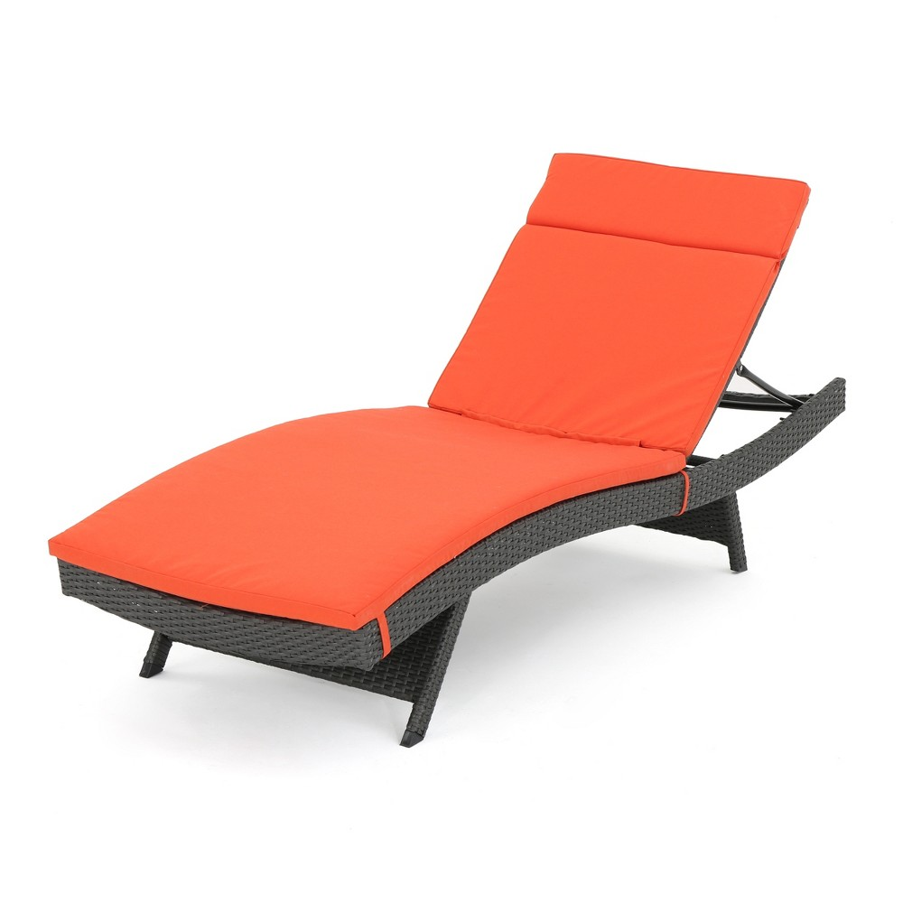 Salem Brown Wicker Adjustable Chaise Lounge - Orange - Christopher Knight Home