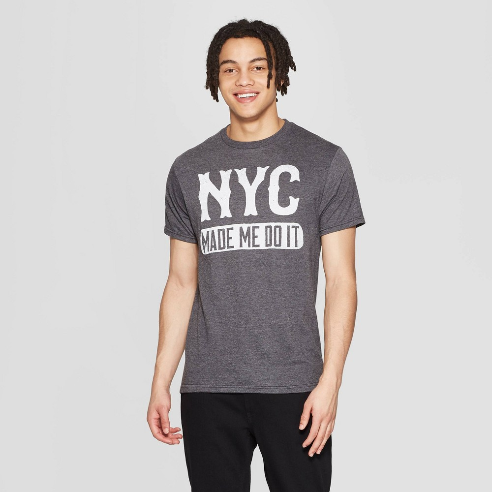 Best Sale Men Short Sleeve Crewneck Nyc Made Me Do It Graphic T Shirt Awake Gray M