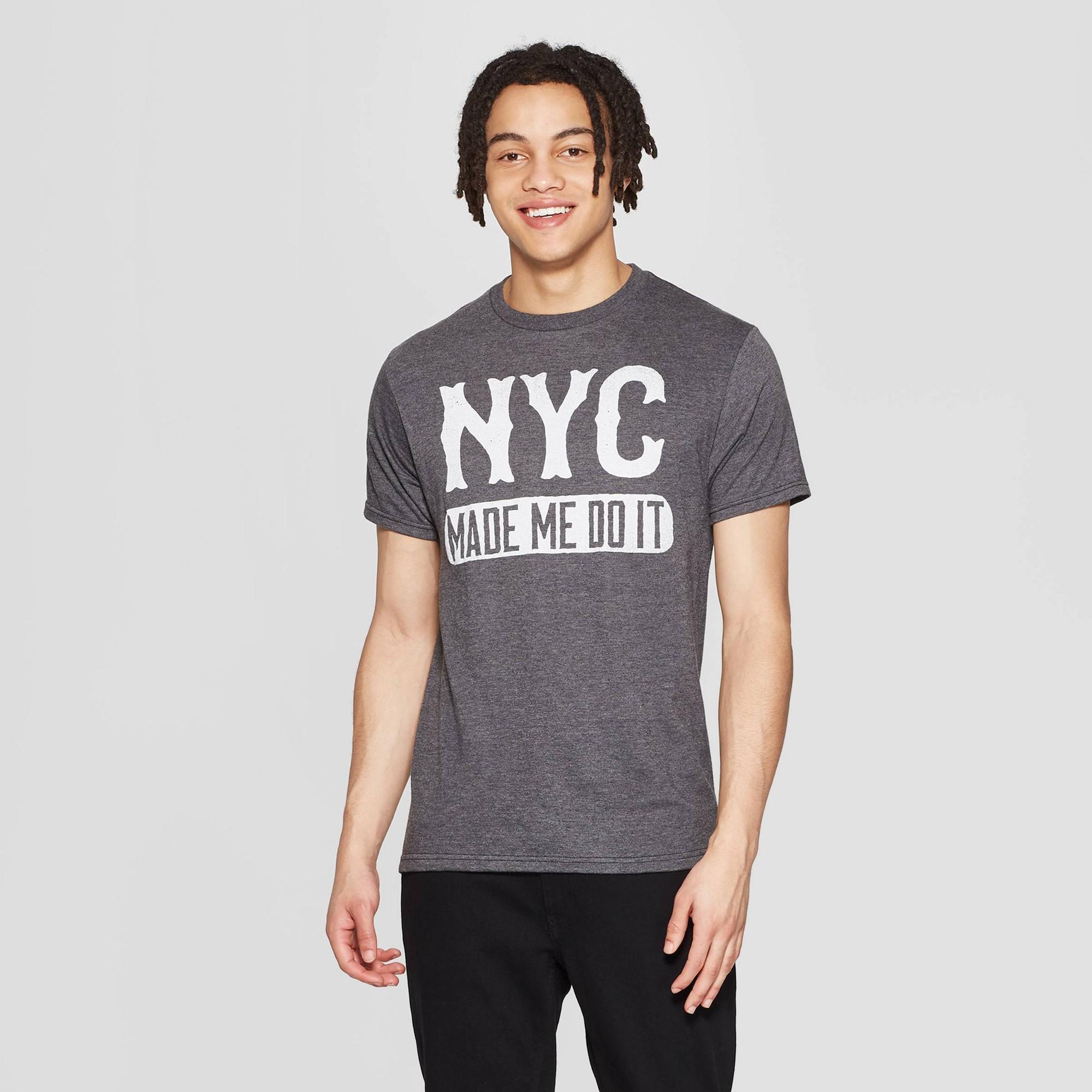 Men's Short Sleeve Crewneck Nyc Made Me Do It Graphic T-Shirt - Awake Gray M