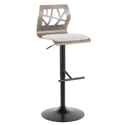 Folia Mid Century Modern Adjustable Barstool Light Gray - LumiSource