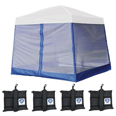 Z-Shade 10' x 10' Angled Leg Instant White Canopy Shelter with Screen & Weights