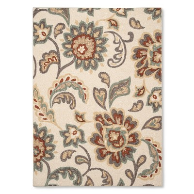 "4'x5'6"" Paisley Floral Area Rug Tan - Maples"