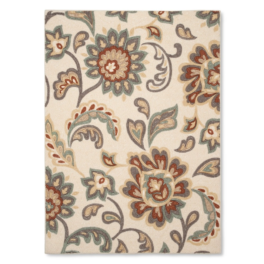 """Image of """"4'x5'6"""""""" Paisley Floral Area Rug Tan - Maples"""""""