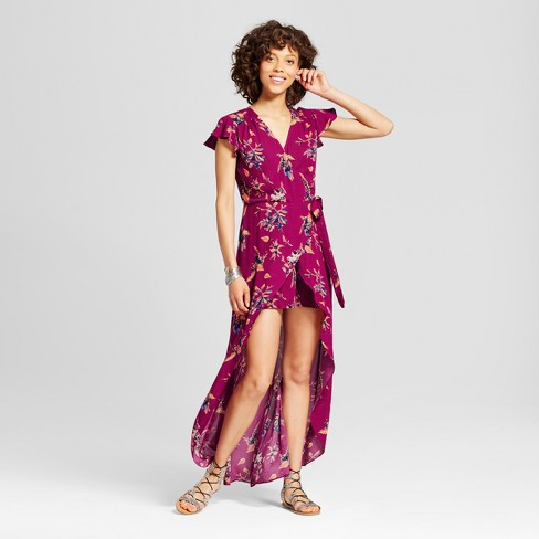 Women's Walkthrough Maxi Dress - Xhilaration™ (Juniors') Berry - image 1 of 2