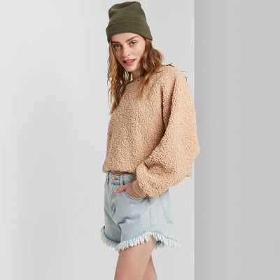 Women's High-Rise Frayed Jean Shorts - Wild Fable™ Light Wash 00