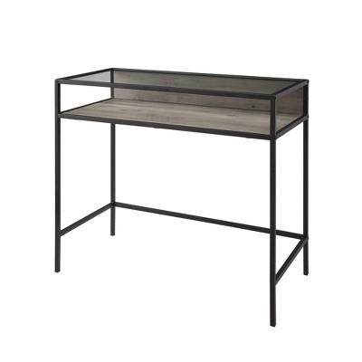 """35"""" Metal & Wood Compact Desk with Glass - Saracina Home"""