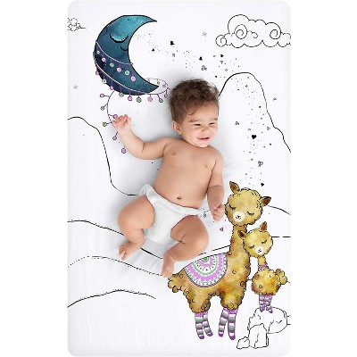 """JumpOff Jo Fitted Mini Crib Sheet, Cotton Crib Sheet for Miniature Sized Crib Mattresses, Hypoallergenic and Breathable, 24"""" x 38"""", Llama and Mama"""