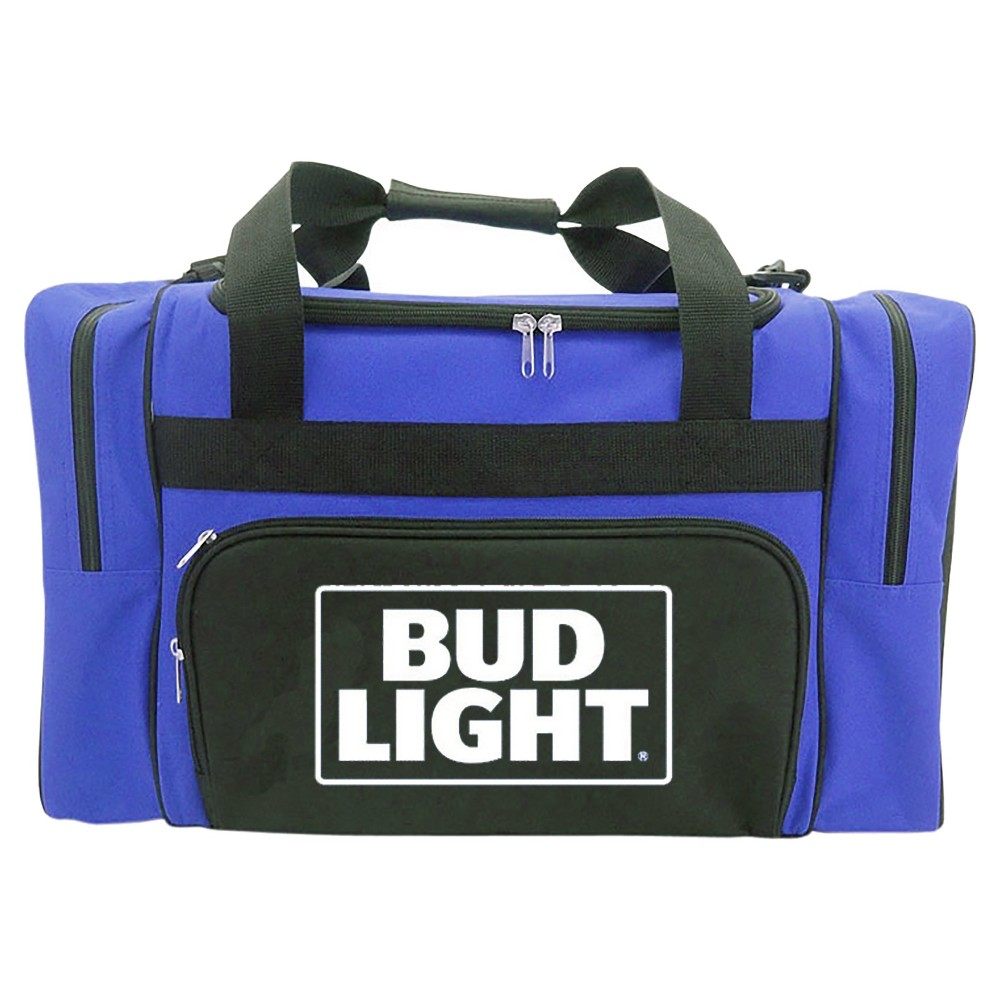 Anheuser-Busch Duffel Cooler Bag with Zippered Front and Side Compartments - Blue (40 Can)