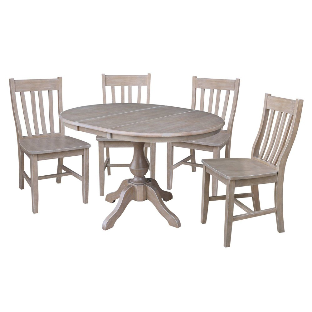 36 Brie Round Extension Dining Table and Four Chairs Taupe (Brown) - International Concepts