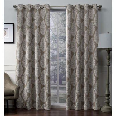 Queensland Printed Medallion Sateen Woven Room Darkening Grommet Top Window Curtain Panel Pair Taupe (52 x108 )- Exclusive Home™