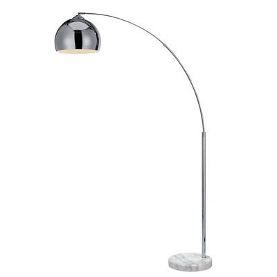 """67"""" Curved Floor Lamp with Shade and Marble Base White - Versanora"""