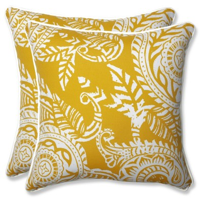 Outdoor/Indoor Addie Yellow Throw Pillow Set of 2 - Pillow Perfect