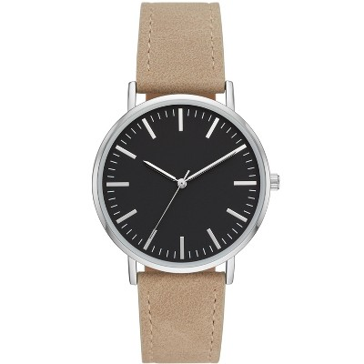 Men's Value Strap Watch - Goodfellow & Co™ Silver/Brown