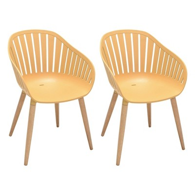 2pk Nassau Outdoor Arm Dining Chairs in Honey Yellow Finish with Wood legs - Armen Living