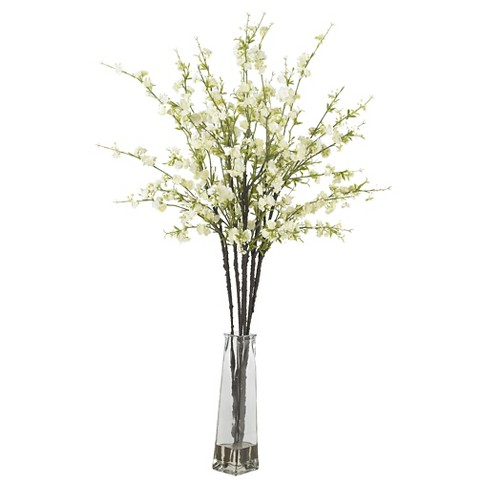 Nearly Natural Cherry Blossoms With Vase Silk Flower Arrangement White