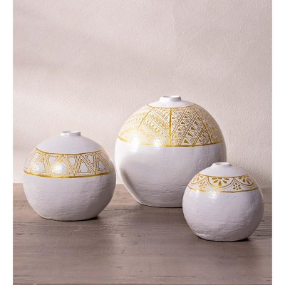 VivaTerra Hand-painted Clay Vases, Set of 3