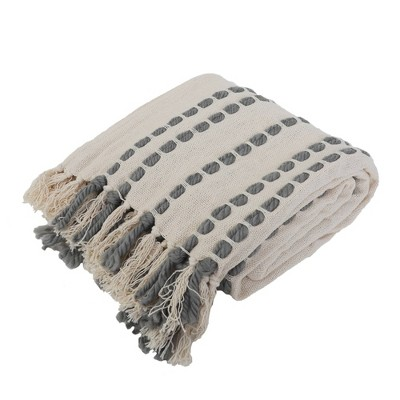 "50""x60"" Wanda Woven Throw Blanket with Border Fringe Trim Dark Gray - Décor Therapy"