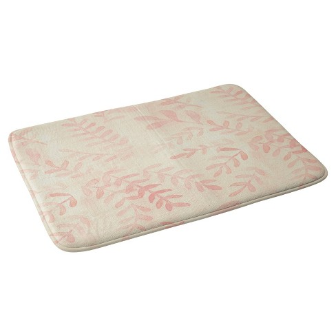 "Geometric Botanical Bath Mat (36""x24"") Pink - Deny Designs® - image 1 of 3"