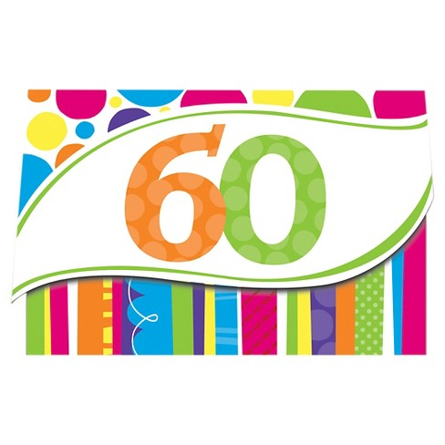 8ct Bright And Bold 60th Birthday Invitations Target
