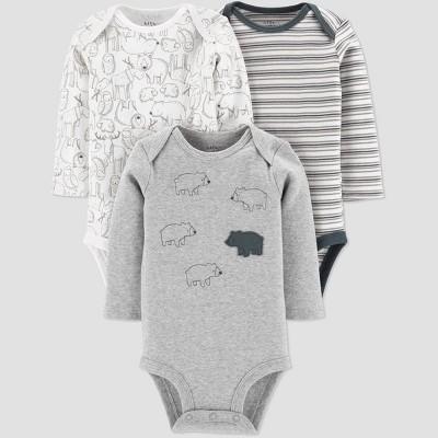 Little Planet Organic by Carters Baby Boys' 3pk Bear Bodysuits - Gray 3M