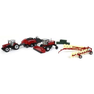 1/64 Massey Ferguson 4 Piece Haying Set Includes Tractor, Wind Rower, Baler, Hay Rake, and Bales by ERTL 16421