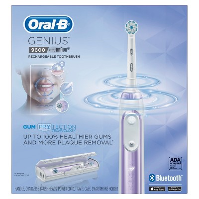 Oral-B Orchid Purple Genius 9600 Rechargeable Electric Toothbrush Powered By Braun with JetSet Charger