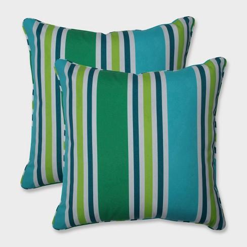 """18.5"""" 2pk Aruba Stripe Throw Pillows Blue - Pillow Perfect - image 1 of 1"""
