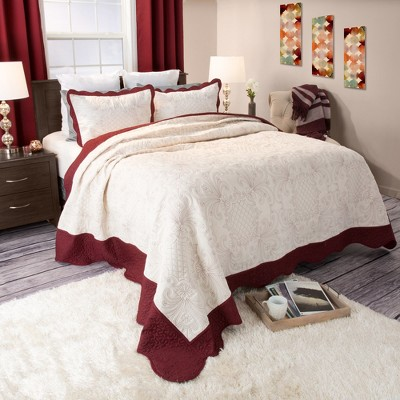 Juliette Paisley Embroidered Quilt Set (King)Deep Red 3pc - Yorkshire Home®
