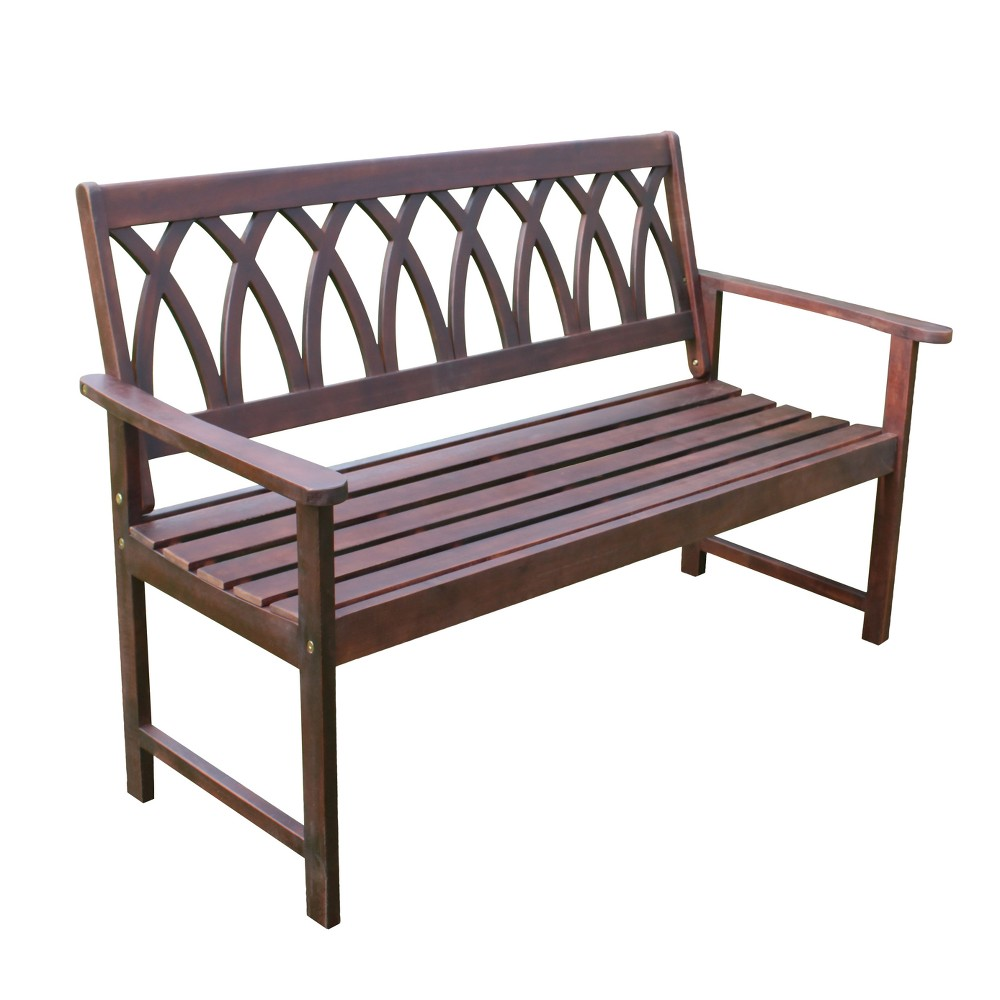 Image of Criss Cross Acacia Wood Garden Bench - Natural Wood - Merry Products