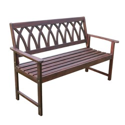 Criss Cross Acacia Wood Garden Bench - Natural Wood - Merry Products