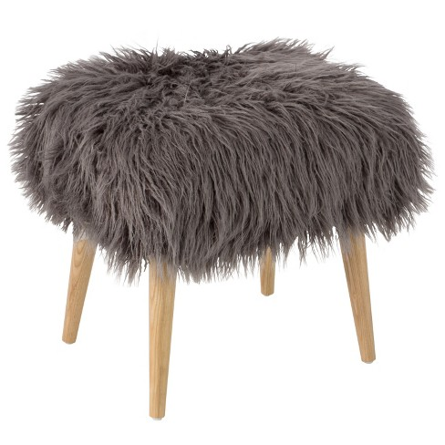 Ottoman Faux Fur with Natural Legs - Skyline Furniture - image 1 of 2