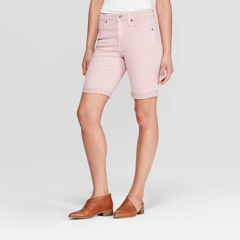 Women's High-Rise Double Cuff Hem Bermuda Jean Shorts - Universal Thread Pink 10