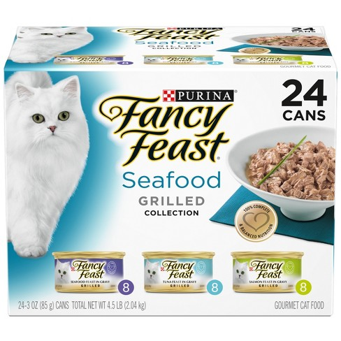 Purina Fancy Feast Grilled Seafood Feast Variety Pack Wet Cat Food - 3oz cans / 24ct - image 1 of 5