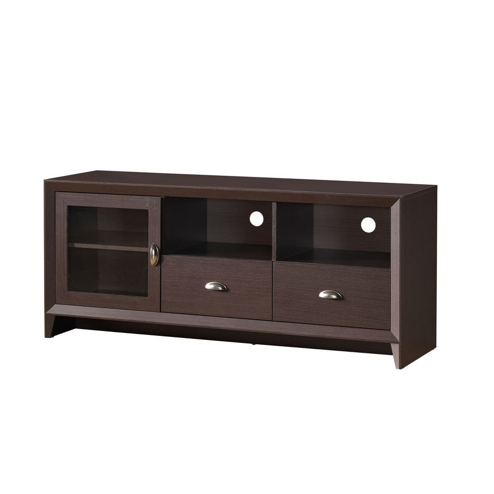 "Image of ""60"""" Modern TV Stand with Storage Brown - Techni Mobili"""