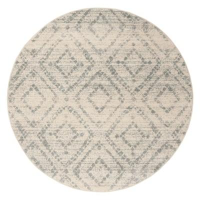 Ivory/Light Blue Geometric Loomed Round Area Rug 6' - Safavieh