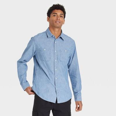 Men's Standard Fit Denim Long Sleeve Button-Down Shirt - Goodfellow & Co™