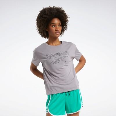Reebok Workout Ready Supremium Slim Fit Big Logo Tee Womens Athletic T-Shirts