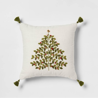 Tree Embroidered Square Throw Pillow Green - Threshold™