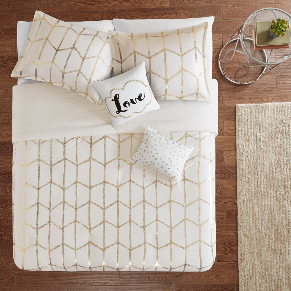 Image of 4pc Twin/Twin XL Arielle Printed Duvet Cover Set Ivory/Gold