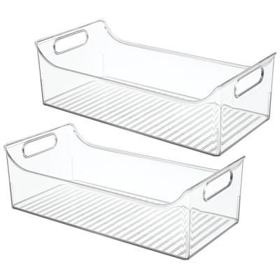 mDesign Wide Plastic Kitchen Pantry Cabinet Food Storage Bin, 2 Pack
